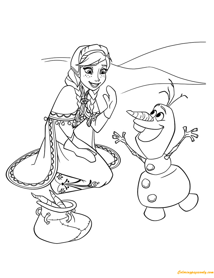 Anna And Olaf 1 Coloring Page