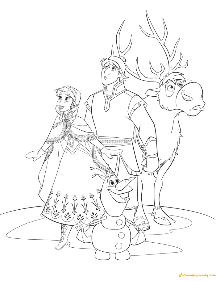 Anna Kristoff Sven and Olaf Coloring Page Free Coloring Pages