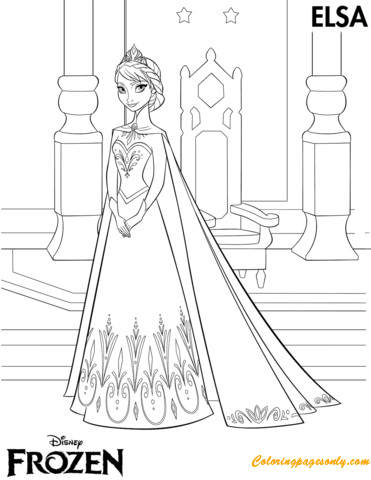 Elsa Coronation Day Coloring Page