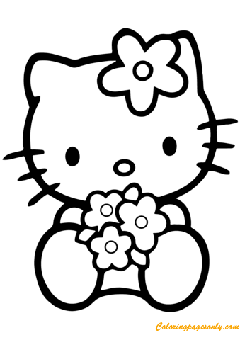 Hello Kitty With Flowers Coloring Page Free Coloring