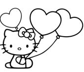 Hello Kitty With Heart Balloons
