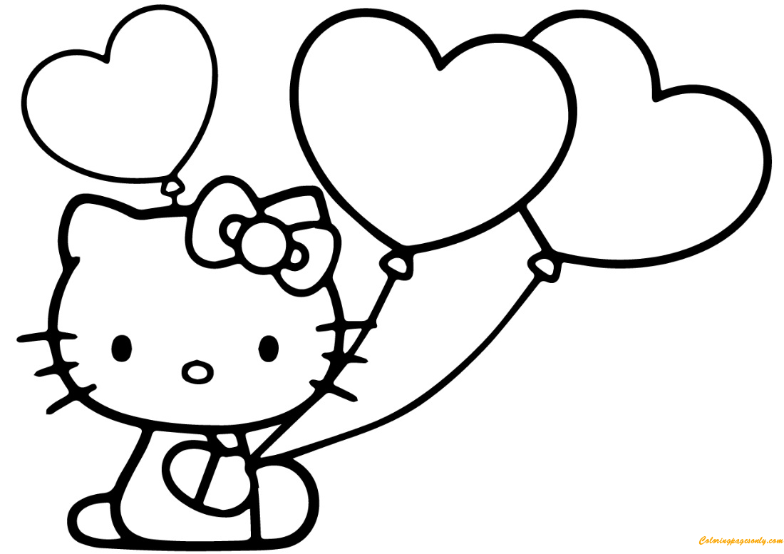 Hello Kitty With Heart Balloons Coloring Page