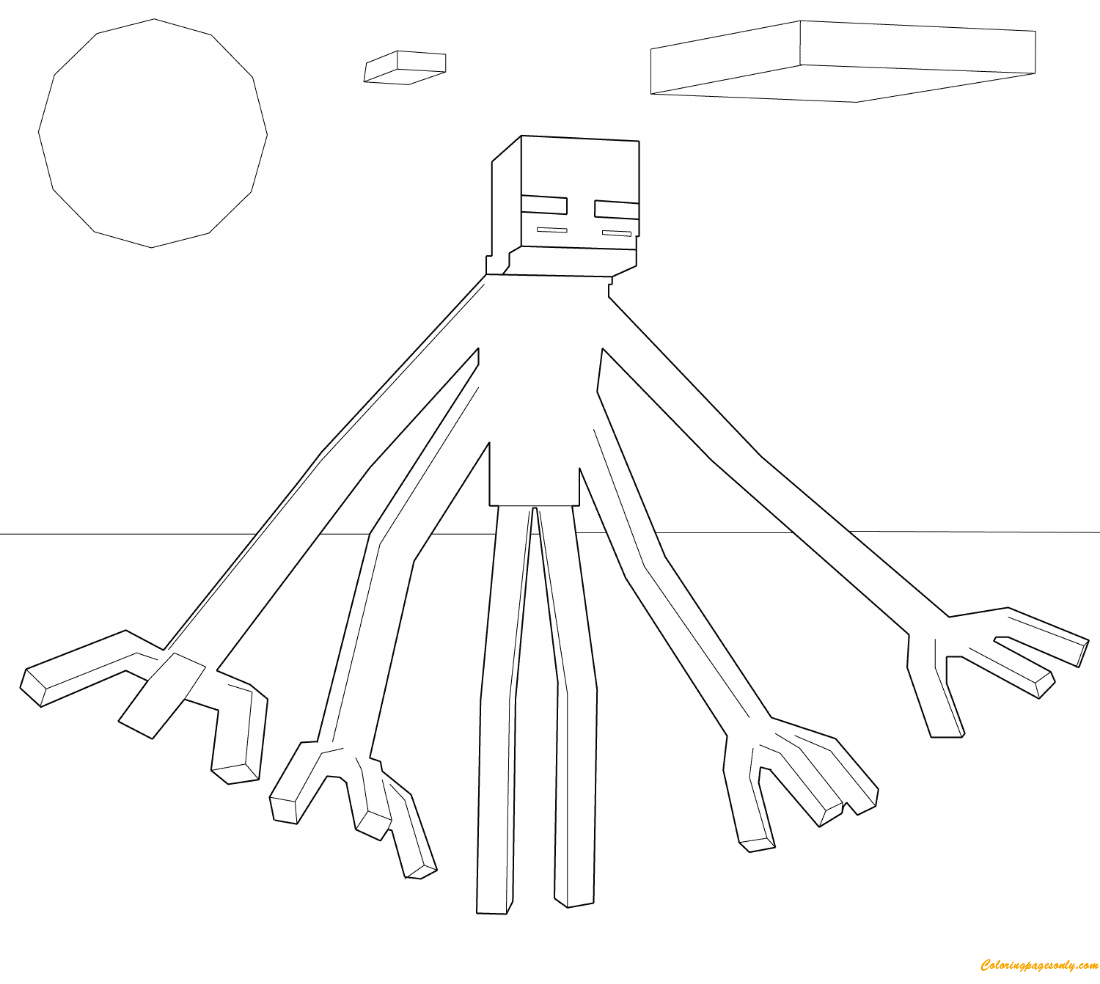 Kleurplaat Minecraft Ender Dragon Minecraft Mutant Enderman From Minecraft Coloring Page
