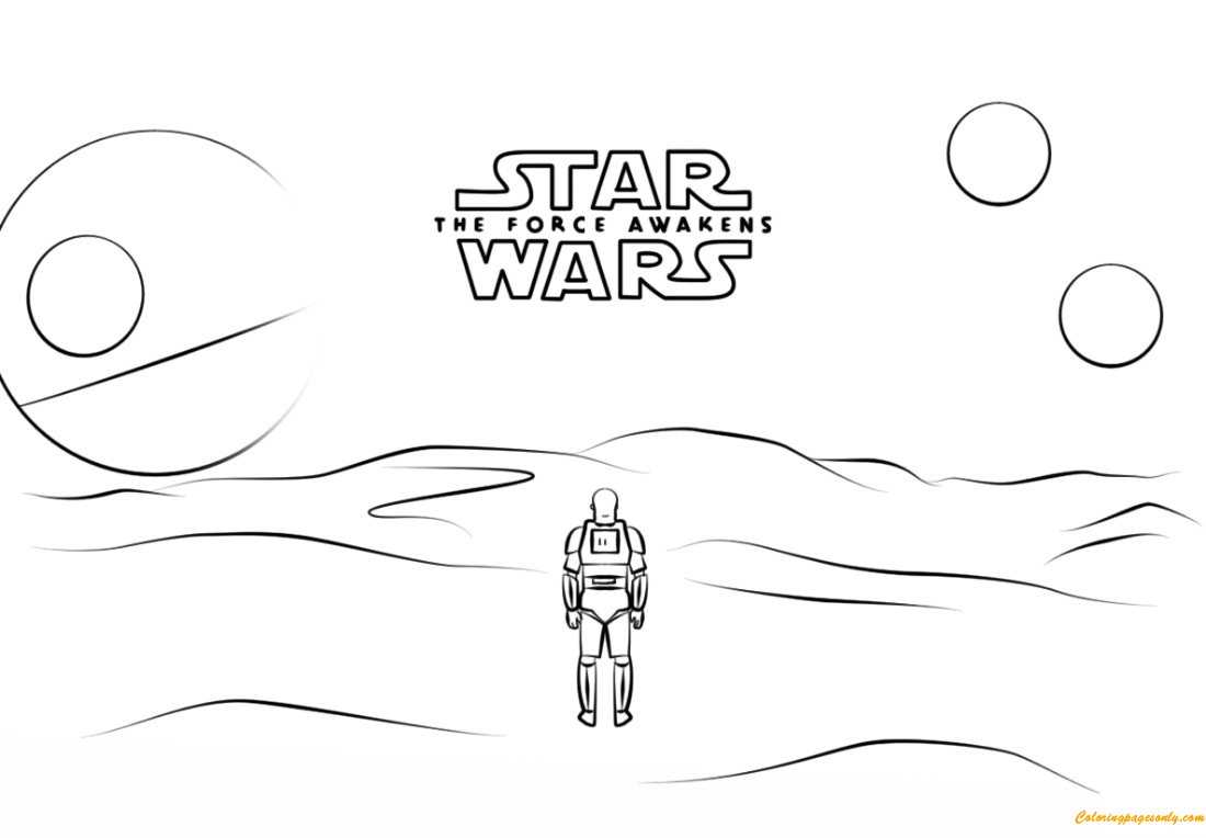 Star Wars 7 Poster With Stormtrooper Finn Coloring Page Free