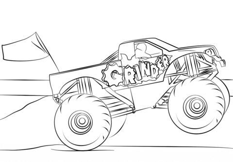 Grinder from Monster Truck Coloring Page