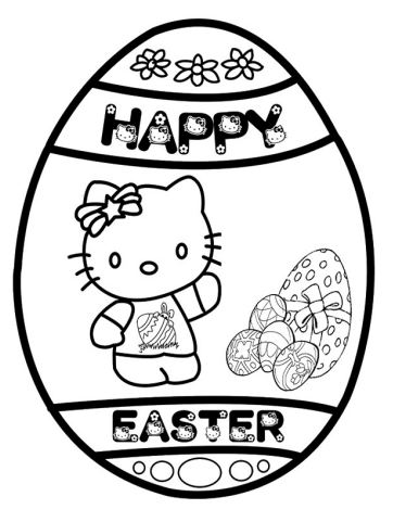 Easter Egg Hello kitty Coloring Page