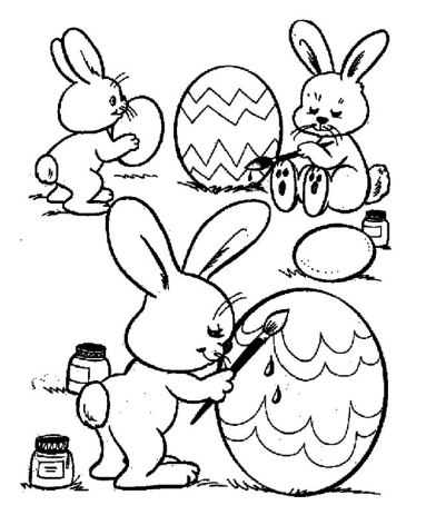 Cute Rabbits Coloring Easter Eggs