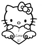 "Hello Kitty With ""I Love You"" Heart"