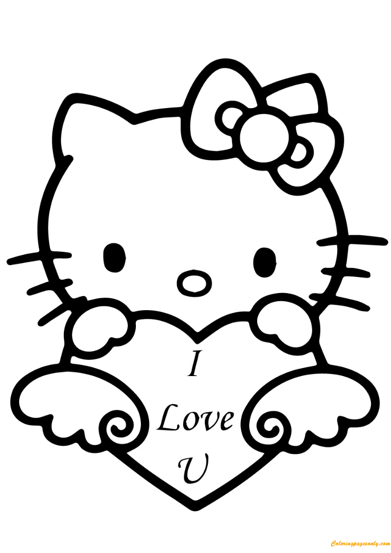 Hello Kitty With I Love You Heart Coloring Page