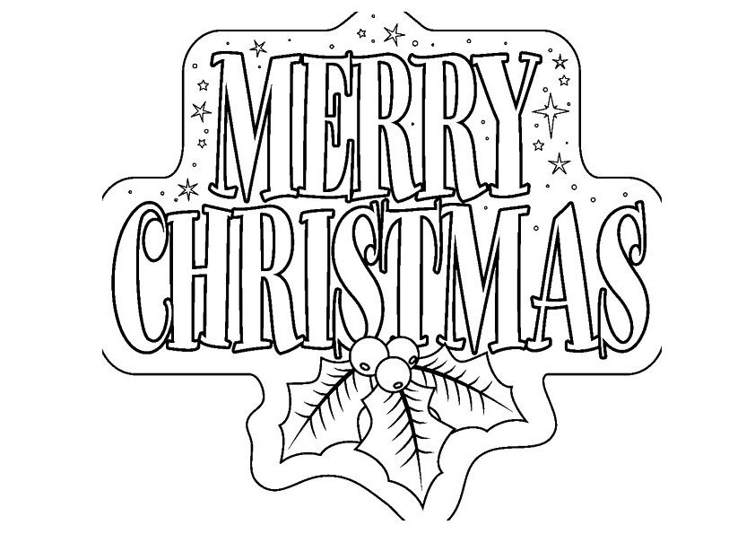 Merry Christmas Banner Coloring Page