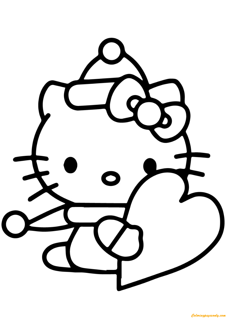 Hello Kitty With Valentine 39 s Day Heart Coloring Page