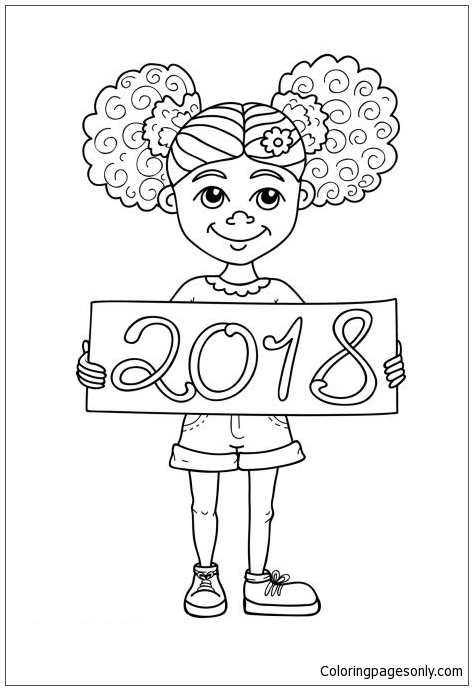 2018 Girl Coloring Page