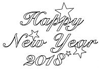 2018 Happy New Year Coloring Page