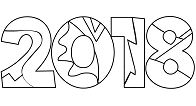 2018 New Year Adult  Coloring Page