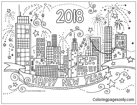 2018 New Year City Coloring Page