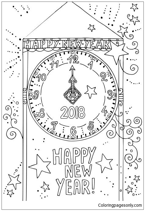 2018 New Year Clock Coloring Page