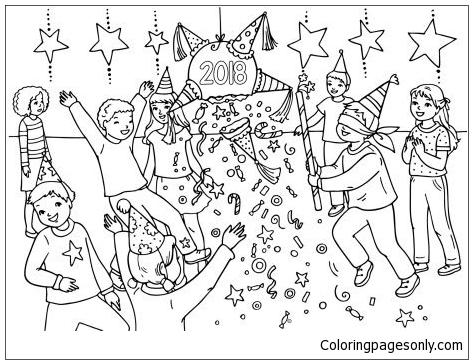 2018 New Year Pinata Coloring Page