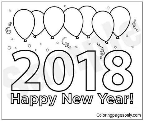 2018 new years eve coloring page