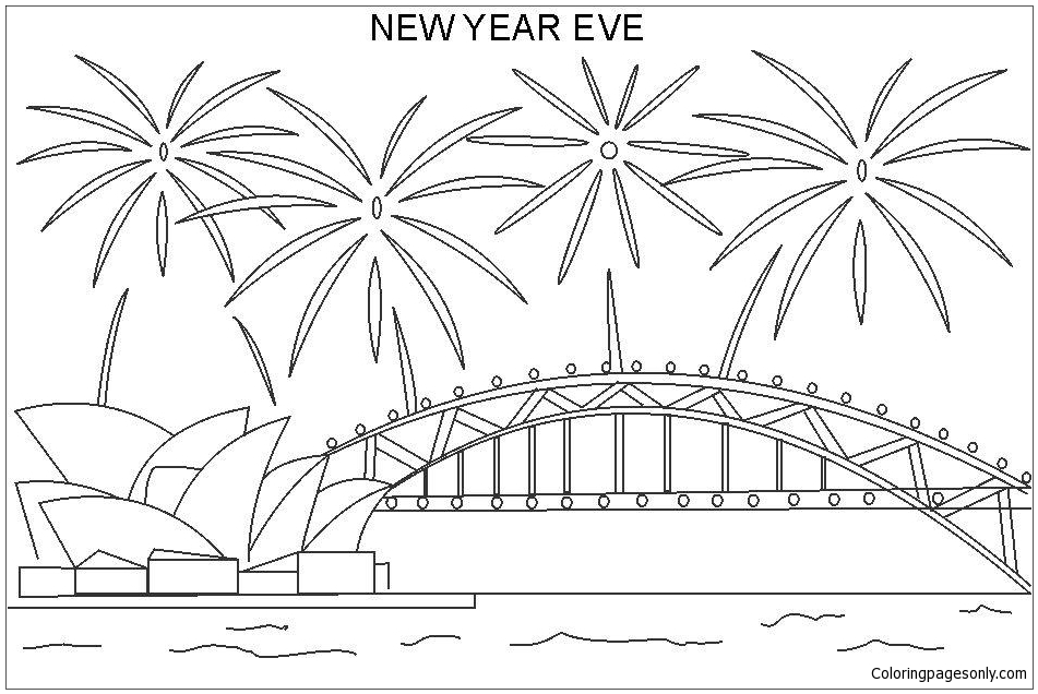2018_Happy New Year Coloring Page