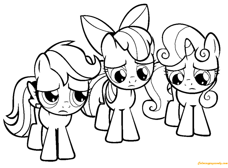 3 Little Rainbow Dash Pony Coloring Page