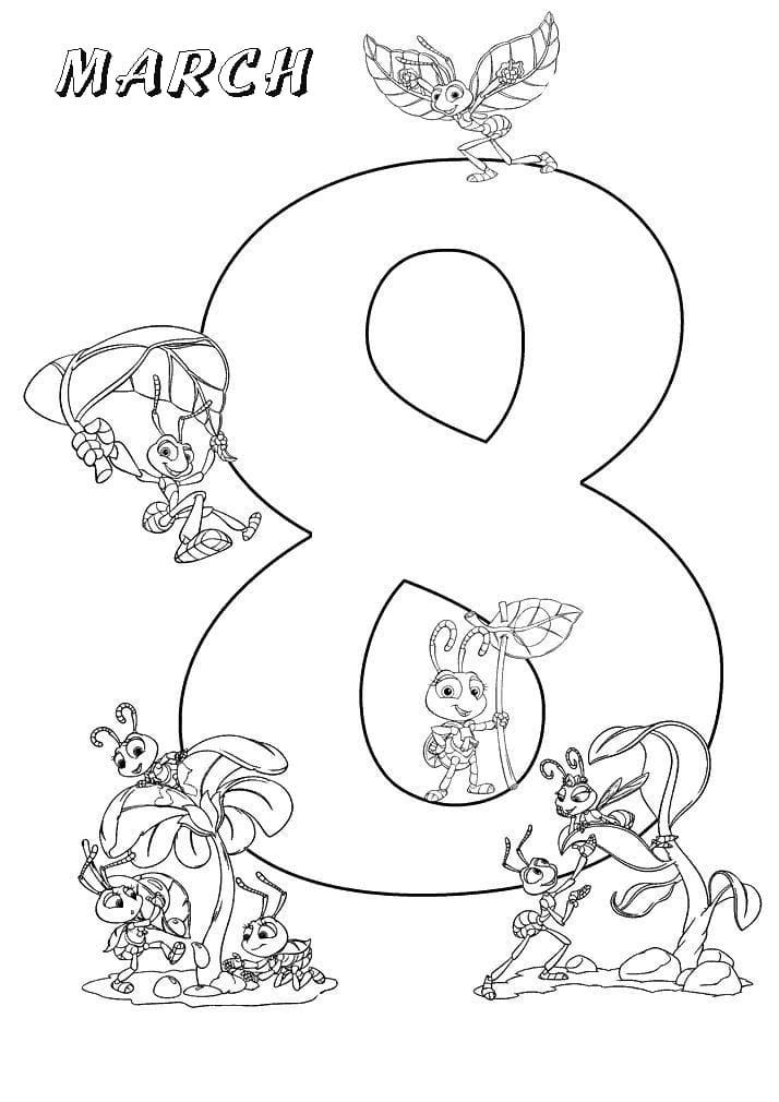 8th March and Flying Ants Coloring Page