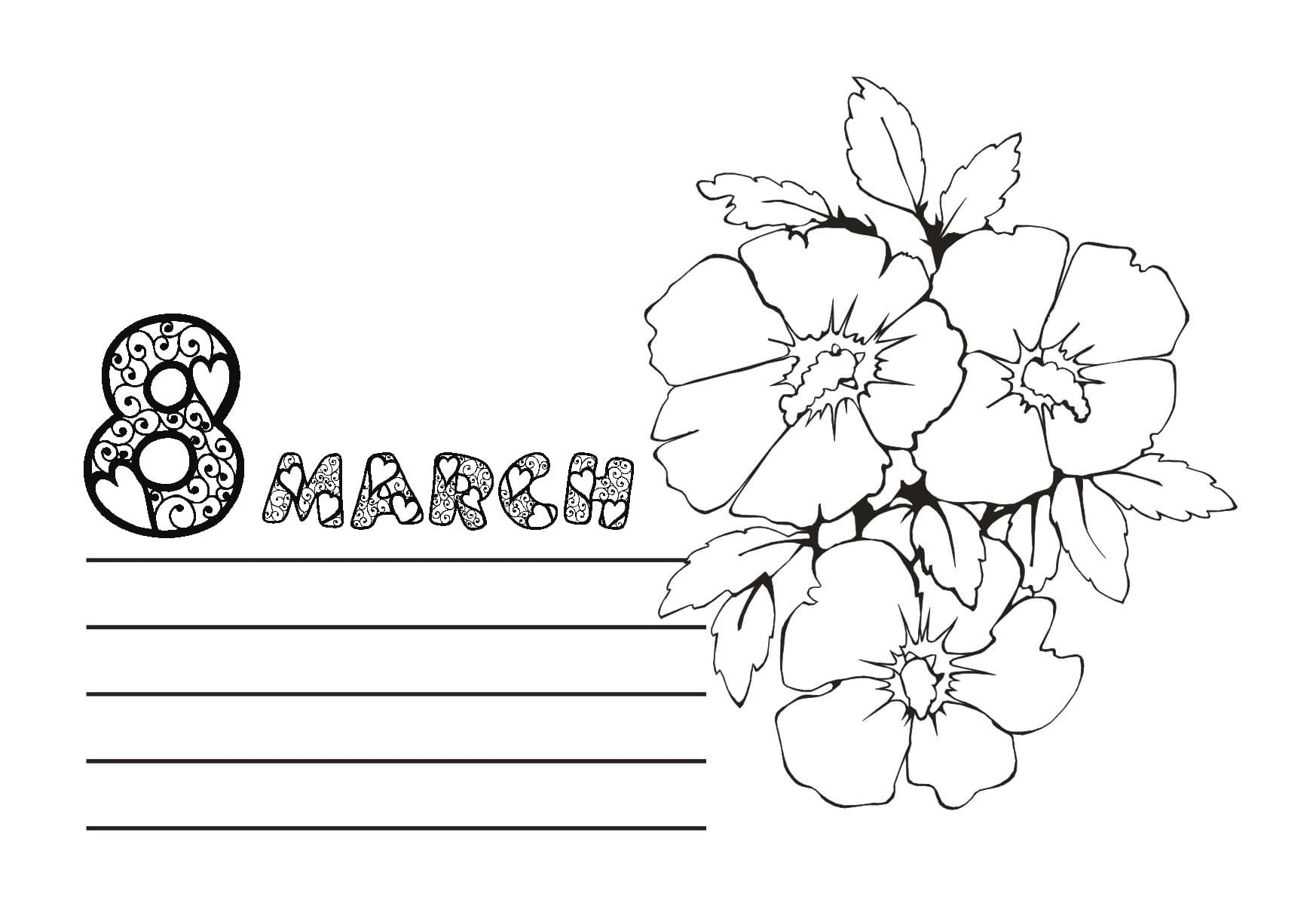8th March Card Coloring Page