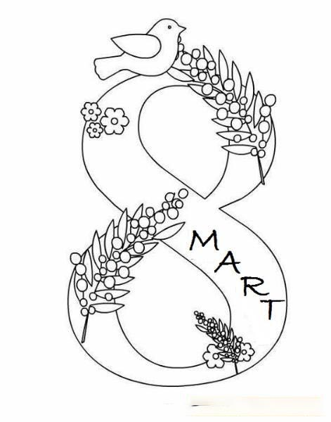 8th March flowers frame Coloring Page