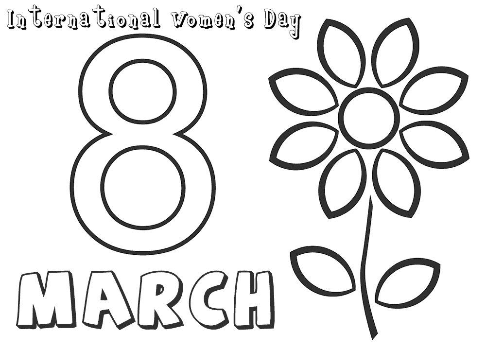 8th March International Womens Day Coloring Page