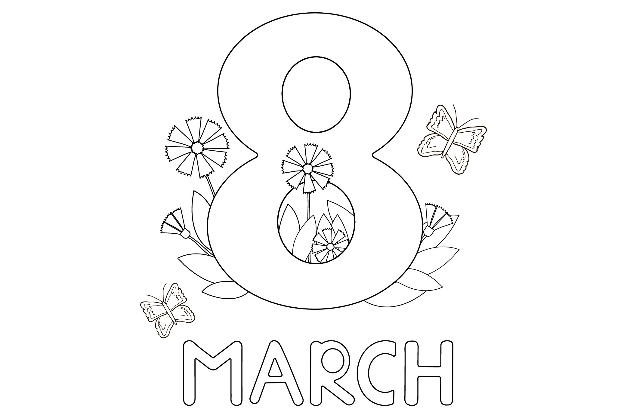 8th March with flowers Coloring Page