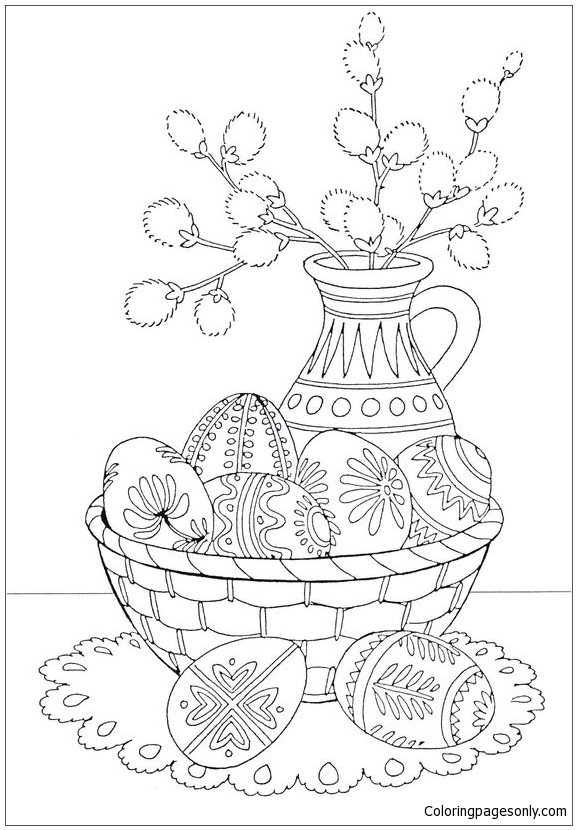 A Basket Of Easter Eggs Coloring Page