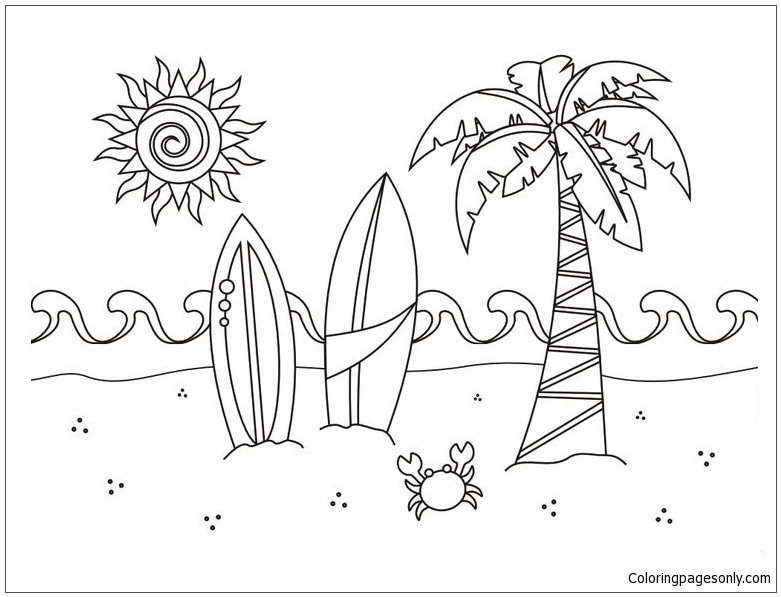 A Beach Scene Coloring Page