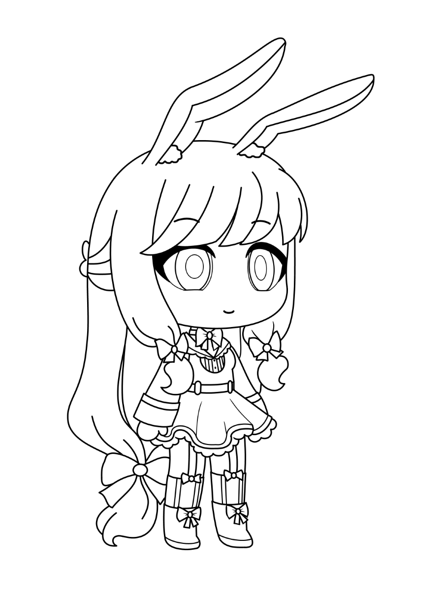 A Beautiful Bunny Girl Coloring Page