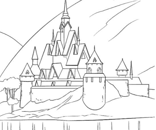 A Beautiful Castle In Arendelle Coloring Page