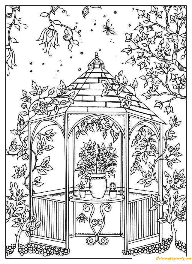 A Beautiful Garden Coloring Page - Free Coloring Pages Online