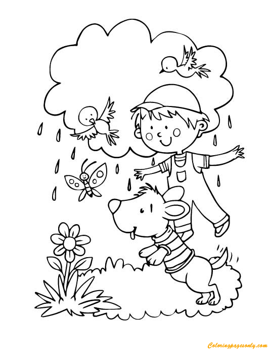 A Boy And A Dog Playing Outside Coloring Page