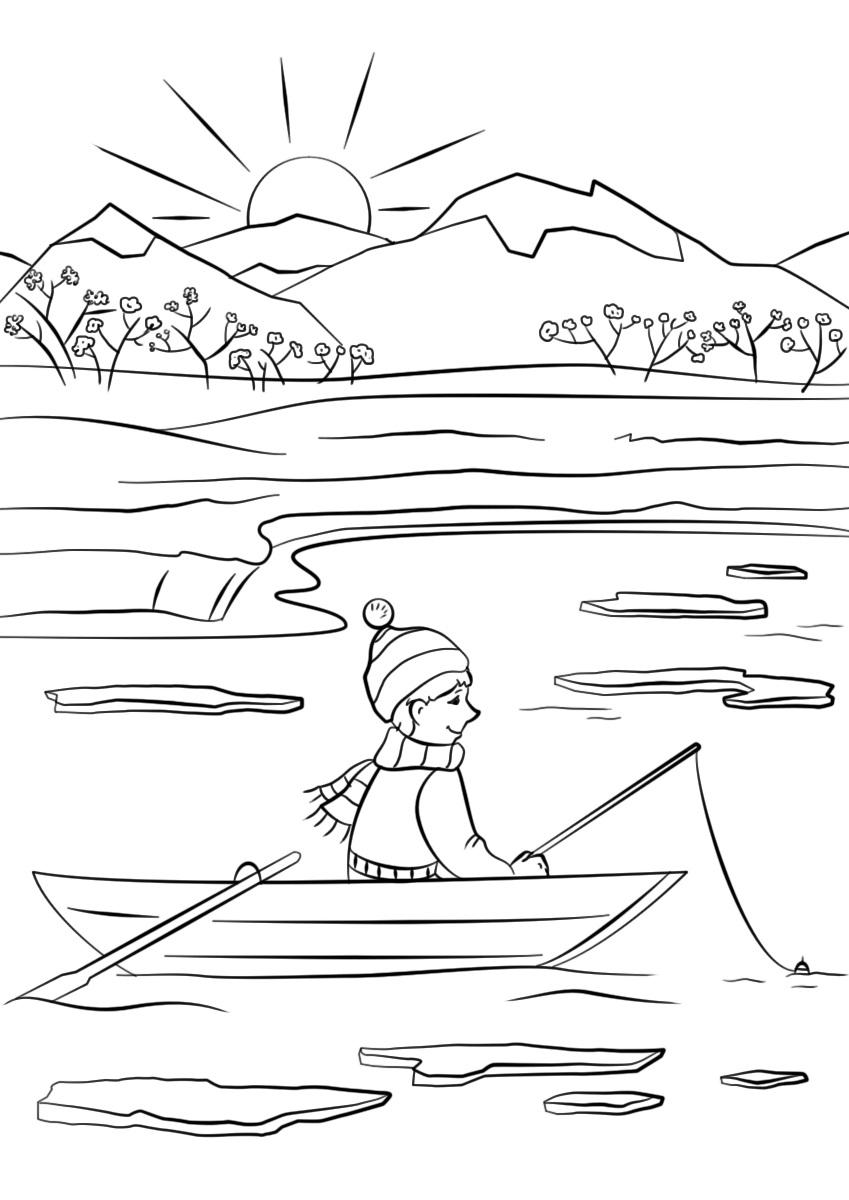 A Boy Fishing in Spring