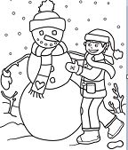 A Boy Making Snowman  Coloring Page