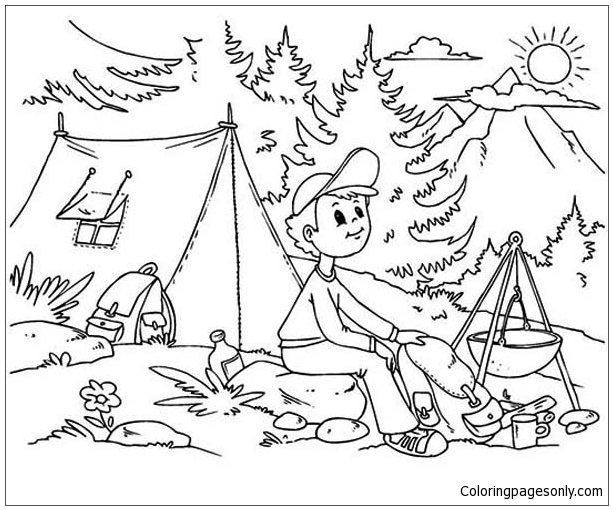 Summer Camp, : Bestfriends on Summer Camp Coloring Page | Summer ... | 510x613