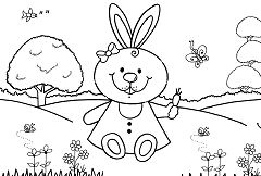 A bunny rabbit with a carrot in a garden Coloring Page