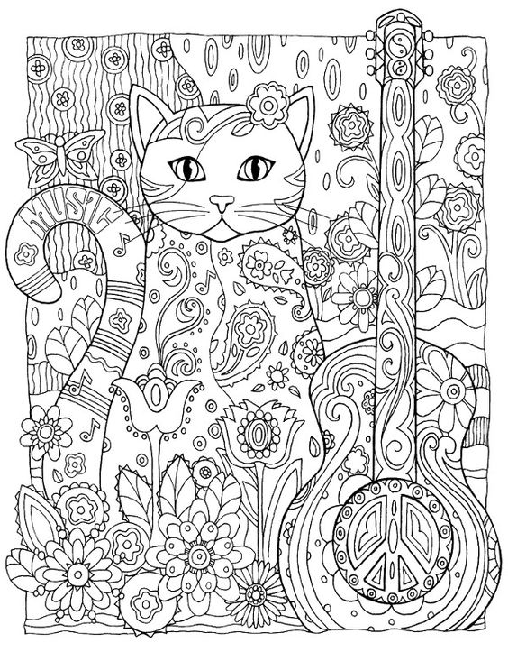 A Cat With A Guitar Coloring Page