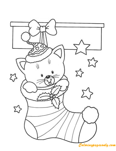 A Cute Cat In A Socking Coloring Page
