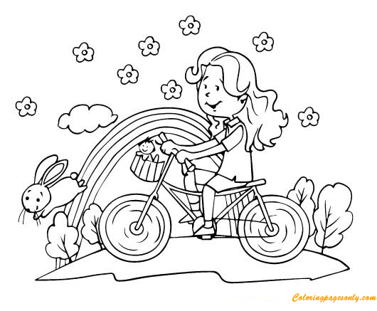A Cute Girl Riding Bike Coloring Page