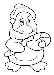 A Cute Little Penguin Holding Christmas Candy Cane  Coloring Page