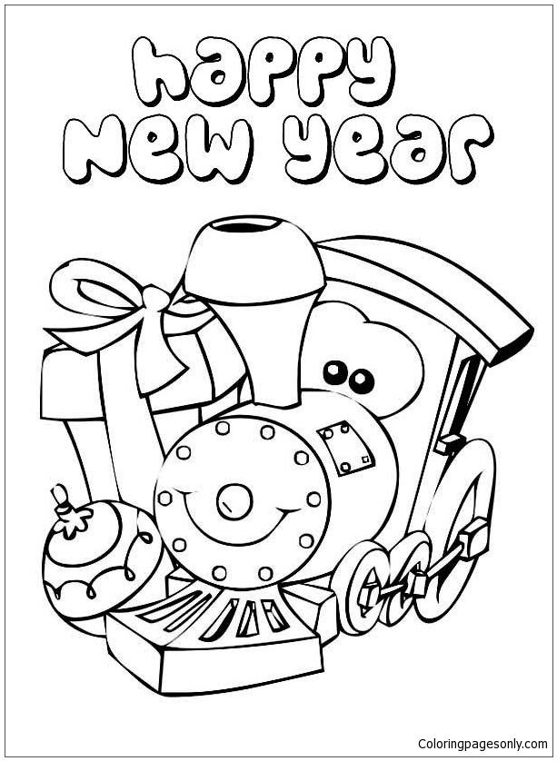 Happy New Year Colouring Pages - www.free-for-kids.com | 838x613
