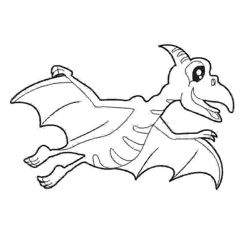 A Cute Quetzalcoatlus Dinosaur flying Coloring Page