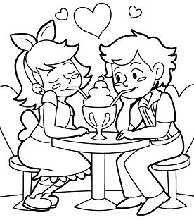 A Date With Ice Cream Coloring Page