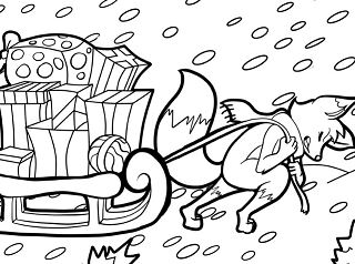 A fox draws a sleigh full of Christmas presents