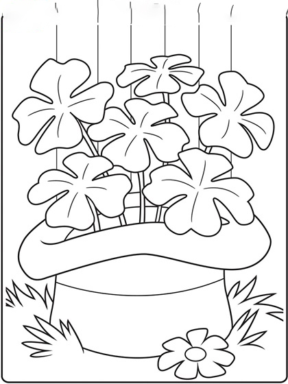 A full hat of shamrocks Coloring Page