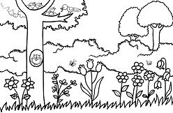A Garden Scene Coloring Page