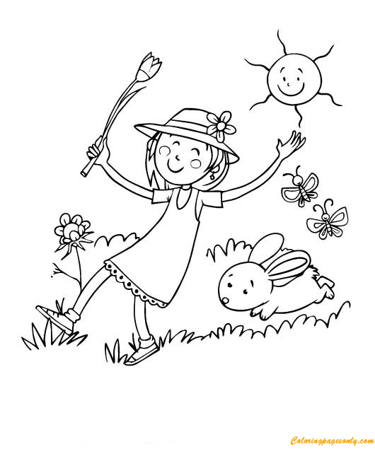A Girl And A Bunny Playing Outside Coloring Page